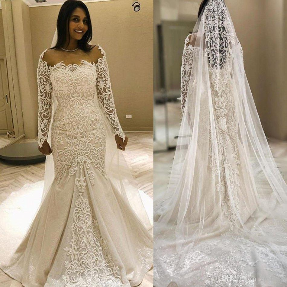 Romantic Long Sleeve Mermaid Wedding Dresses Off Shoulder Lace Vintage Bridal Gowns Bacless Beads Sweep Train Formal Wedding Dress