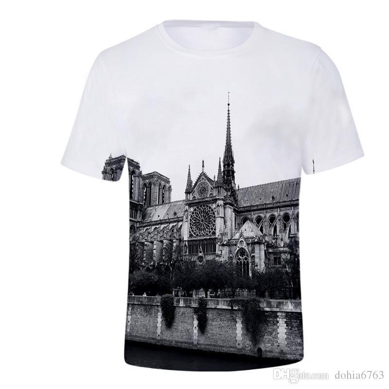 Notre Dame de Paris, einfach lässig lose kurze Ärmel Rundhals Ziffern Druck Baumwollmaterial Notre Dame de Paris baulichen Stoffen