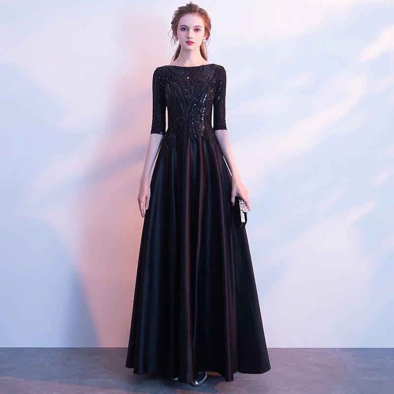 하프 슬리브 새틴 이브닝 드레스와 스팽글 2019 블랙 긴 이브닝 드레스 지퍼 백 베스 티고 롱고