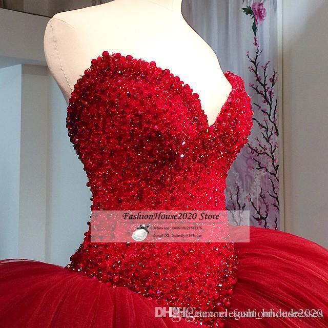 2019 Plus Size Tulle Ballkleid Brautkleider Dunkelrot 2018 reizvoller Schatz-Perlen Perlen Hochzeit Brautkleider Modest Puffy Braut Kleid Che