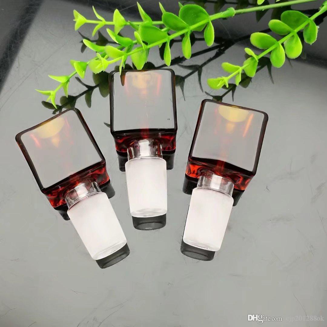 Kırmızı kahverengi cam kare kabarcık kafa Toptan Cam bong Yağ Burner Cam Su Boruları Petrol Kuleleri Sigara Ücretsiz