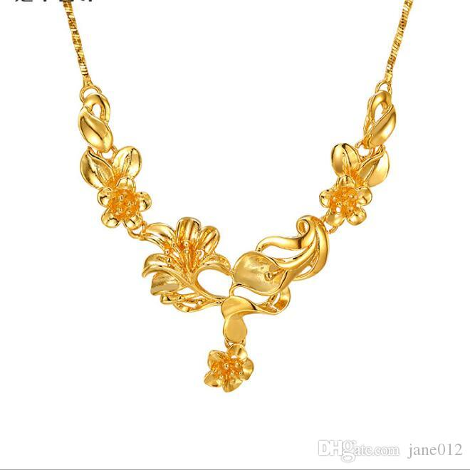 Imitação De Ouro Amarelo Flor Flor Feminino Gargantilha Colar 23 K Banhado A Ouro Jóias De Casamento para Damas de Honra Do Vintage Colares De Noiva