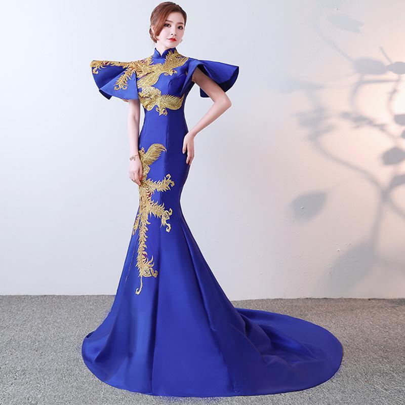 Nuovo 2019 partito cheongsam donne orientali maxi vestito moda stile cinese elegante lungo qipao lusso trailing robe vestido s-xxl