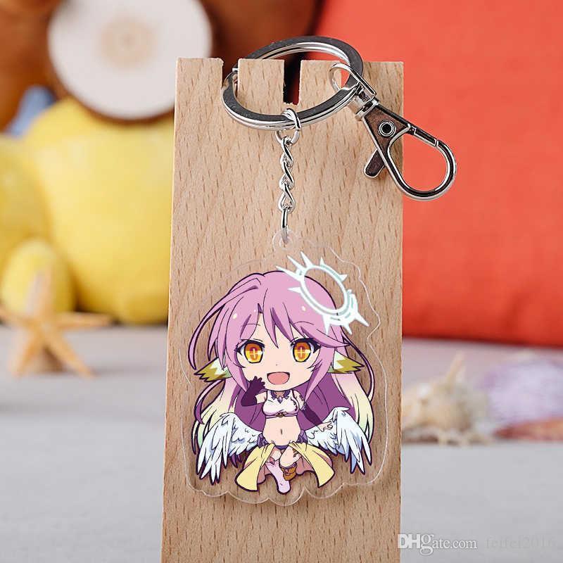 2020 Anime NO GAME NO LIFE Keychain Cartoon Sora Model acrylic transparent double-side car key holder chain pendants keyrings jewelry