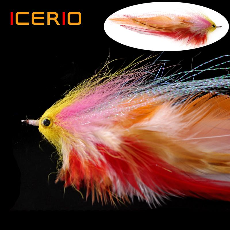 Cheap Lures ICERIO Saltwater Fishing Salmon Pike Streamer Muskie Fly Sea Trout Fishing Fly Lures 1/0#