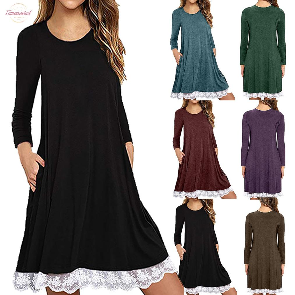 2020 Casual Women Loose Dress O Neck Knee Length Solid Color Lace Full Sleeve Swing Dress Family Party Wear By