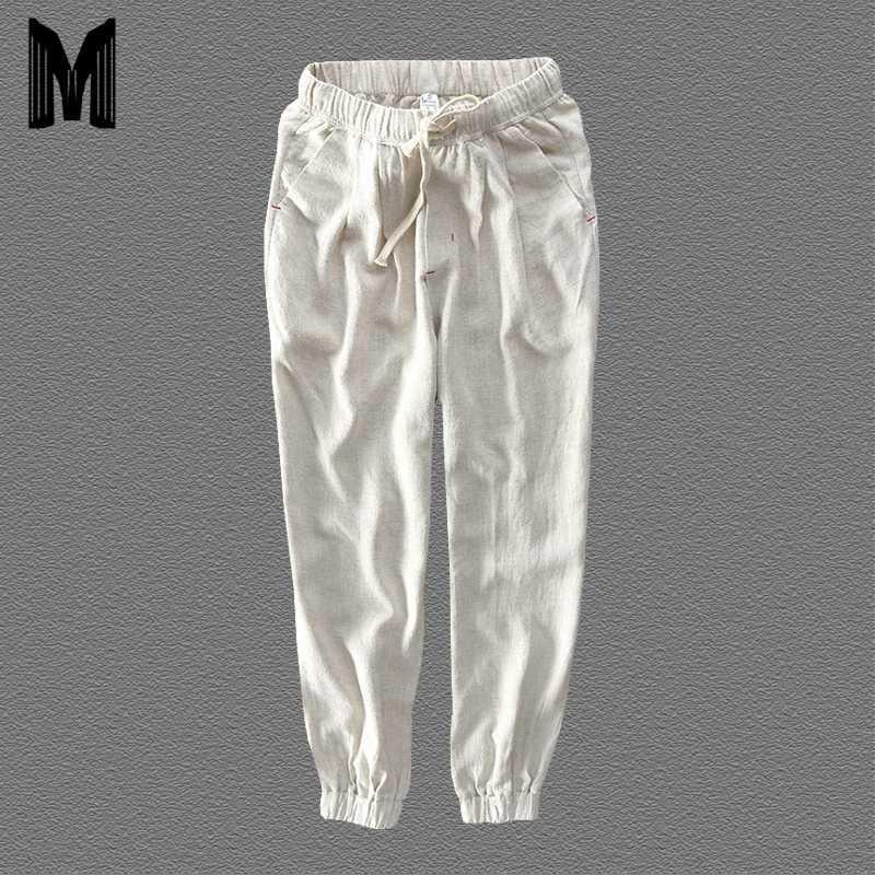 Verão Harem Pants Casual Men Natural de algodão Calças de linho branco cintura elástica Harem tornozelo-comprimento das calças Y1696