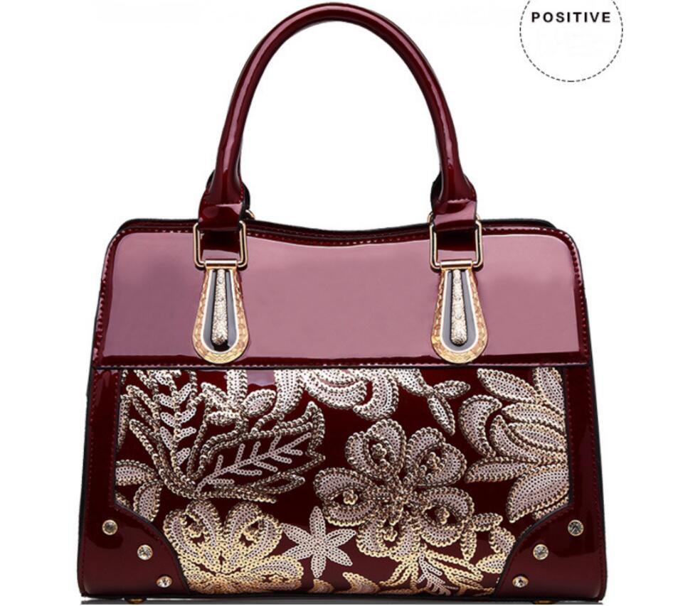Borsa FH12 # 2020 nuove donne high-end sacchetto borsa della pelle verniciata a tracolla della borsa di modo europeo ed americano di paillettes Perkin borsa