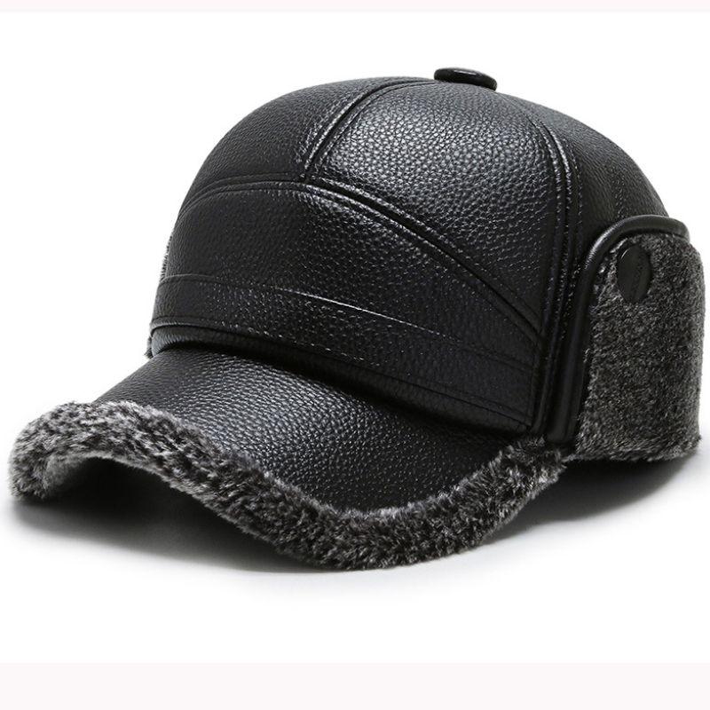 HT2786 толстая теплая зимняя шапка мужчины ветрозащитный кожаный шлем мужской наушник бейсболка мех зима Бейсбол папа с уха лоскут