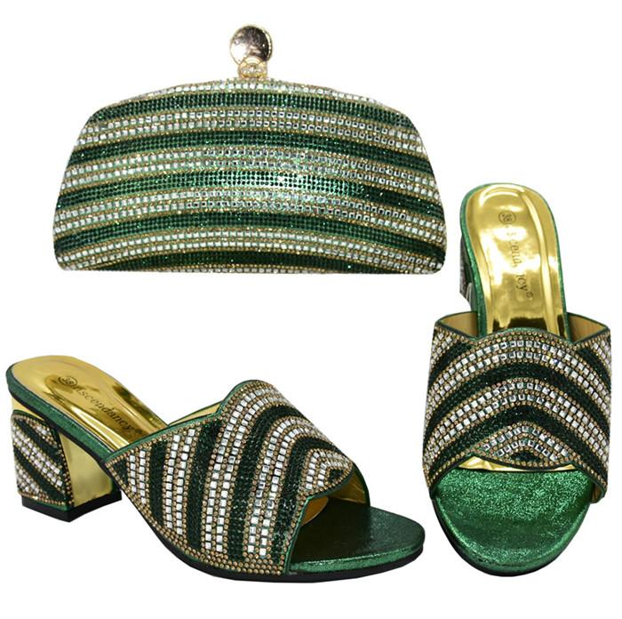 Нигерийская обувь с обувью партии сопрягая мешки Set африканских женщин и их мешок Комплектами зеленого цвета женщин с высокой тапочкой и сумка