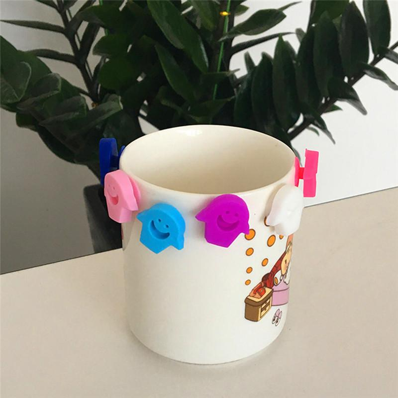 6pcs/set Mini Silicone Smile Face Drink Cup Marker Tags Cup Identify Label