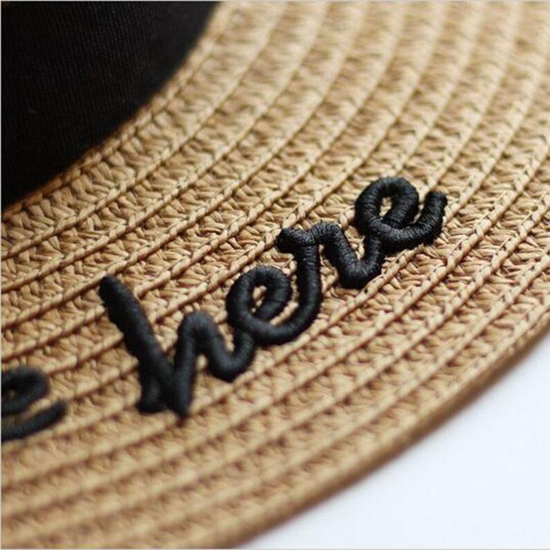 Nouveau été chapeaux de soleil Femmes Mode fille Chapeau de paille Ruban Bow plage Chapeau de paille Casual Flat Top Panama Hat Os Feminino