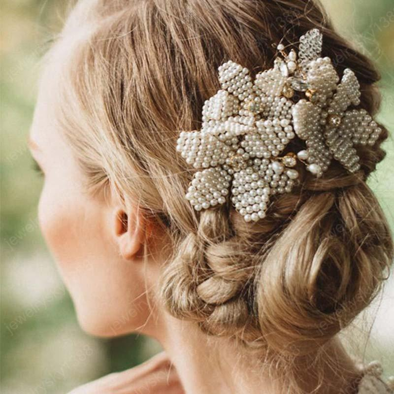 Handmade Hair Jewelry Cluster Simulated Pearls Hair Combs Leaf Flower Bride Headdress Wedding Bridal Head Piece Hair Ornaments