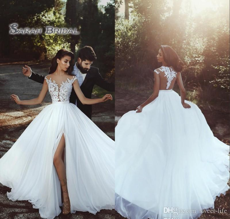 Vestido de encaje de novia de gasa 2019 Hight Split Beach Sin mangas Sexy Sin espalda Vestido de noche Vestido formal De gama alta Boutique de la boda