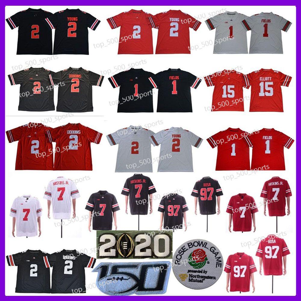 2020 Ohio State Buckeyes Football 1 Justin Fields 2 Chase Young JK Dobbins 7 Dwayne Haskins JR 97 Nick Bosa 15 Elliott NCAA OSU 150th 저지