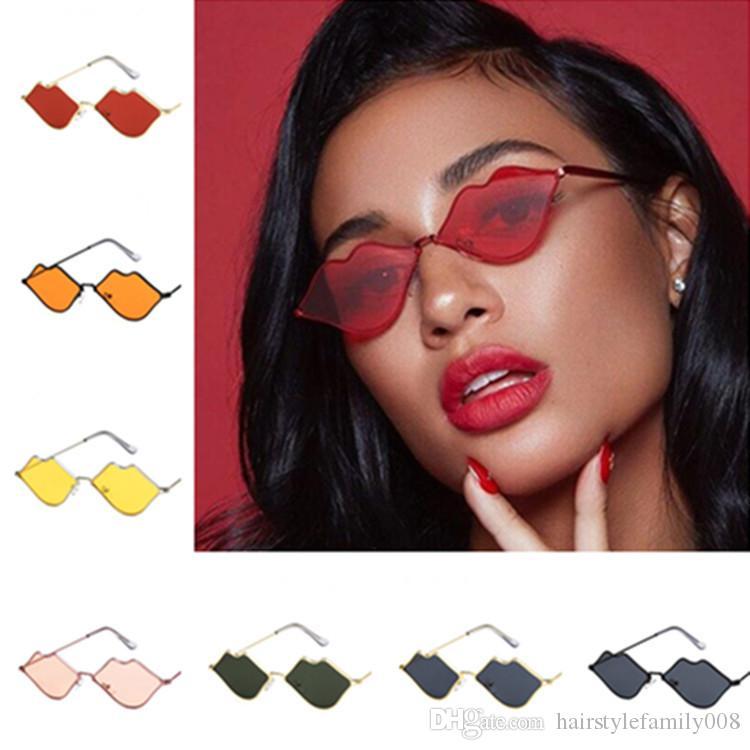 Mode féminine sexy Personnalité Lips Lunettes de soleil anti-UV Lunettes Cadre en alliage de lunettes Goggle Adumbral A ++