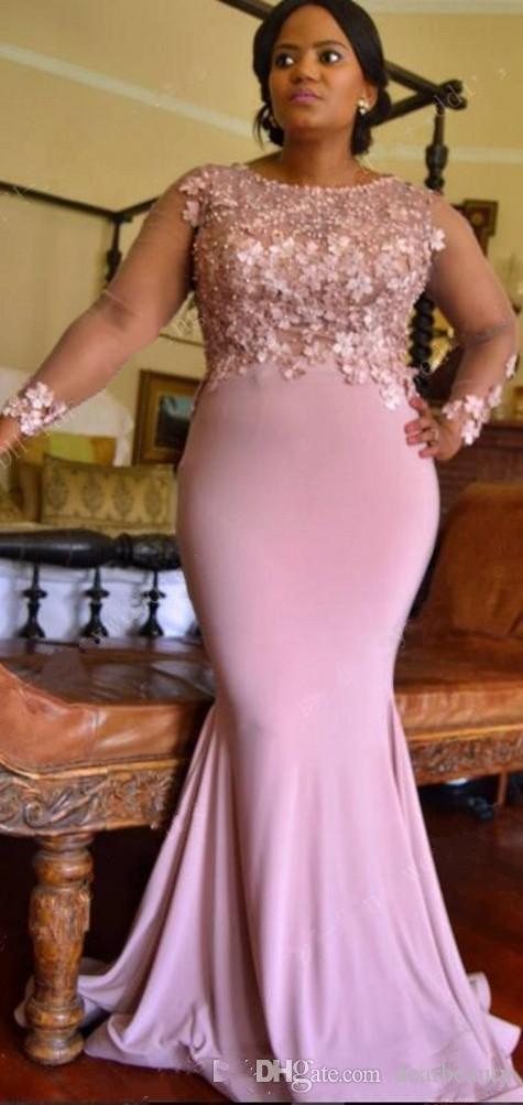 플러스 사이즈 인어 레이스 아랍어 2021 신부 들러리 드레스 긴 소매 구우의 하녀 명예 드레스 드레스 스판덱스 이브닝 드레스