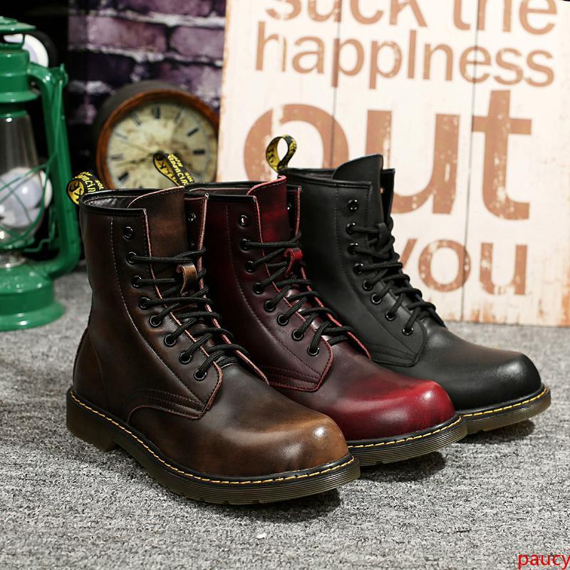 Дизайнер Luxury Mens Boots Winter Boots Black Coffee Высочайшее качество Военные Тройной Кожа Мартин сапоги Размер 40-45 676037