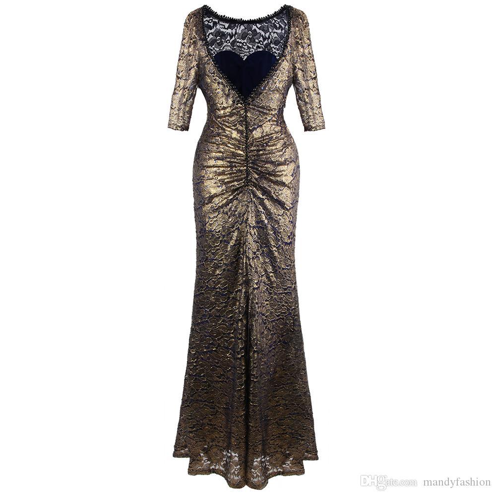 Angel fashions Round Neck Lace Half Sleeves Mermaid Sheath Maxi Party Dress 415