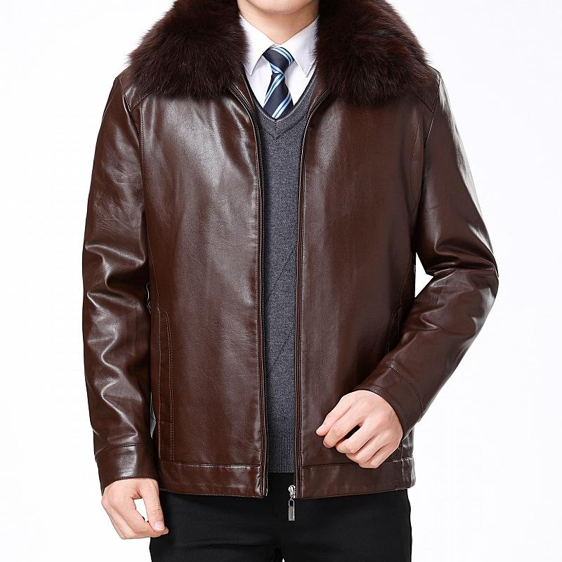 2019 Autumn And Winter New Style Middle-aged MEN'S Leather Coat Brushed And Thick Fur Casual Coat Fold-down Collar