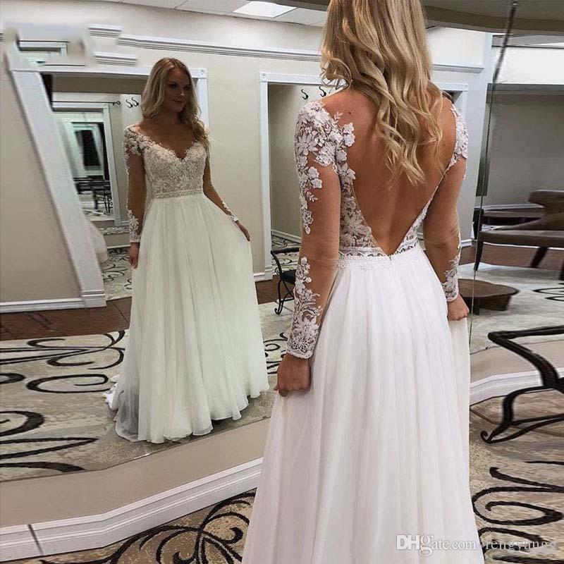 2020 Богемные Свадебные Платья С Длинным Рукавом Спинки Аппликации A Line Sexy V Образным Вырезом Свадебное Платье Шифон Boho Свадебное Платье