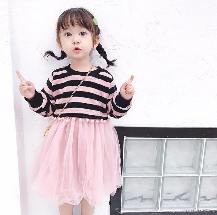 Niñas Invierno mejor venta vestido de moda 2019 Nueva infantil de manga larga a rayas remiendo del vestido del tutú de tul niños dulces Ropa de vestir