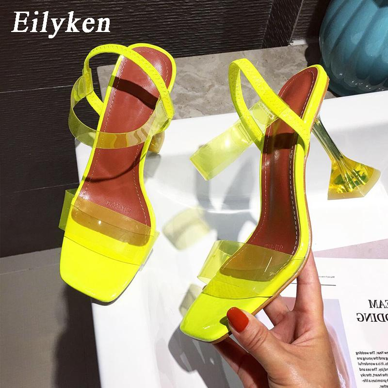 Eilyken White Yellow PVC Jelly Sandals Crystal Open Toe Perspex Spike High Heels Transparent Heel Sandals Slippers 9CM Pumps CX200618