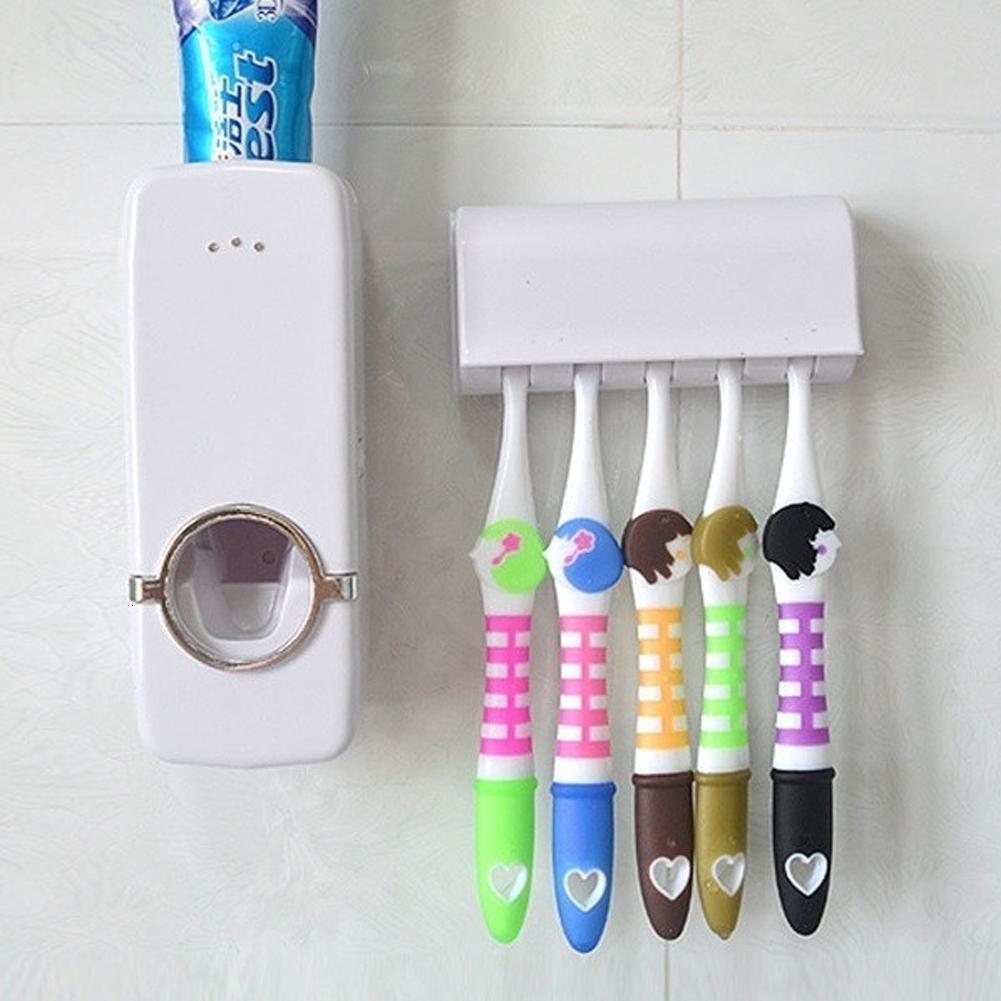 Auto Automático Pasta de dientes Soportes de pasta de dientes Dispensador de cepillo de dientes + 5 Conjunto de soporte de cepillo de dientes Soporte de soporte de montaje en pared