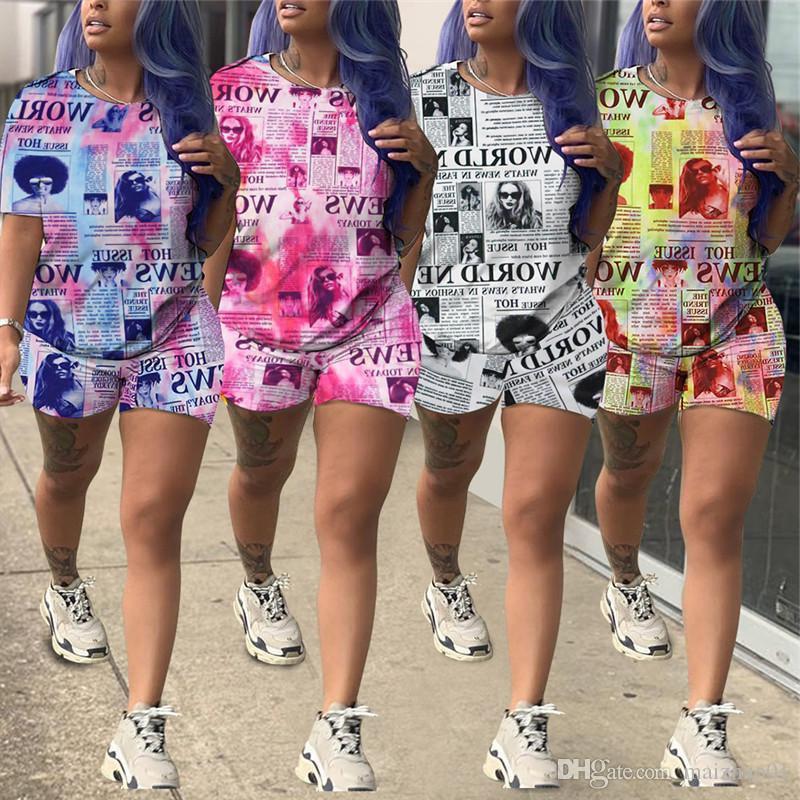 Газета печати Женщины Tracksuit с коротким рукавом O-образным вырезом майка Tops + Шорты 2 шт костюм лето футболка Outfit Мода Дизайн одежды Set