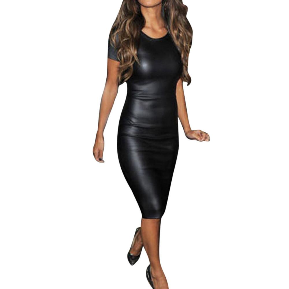 Sexy Sparkly Bandage Bodycon Dresses 2018 Halter Women Short Sleeve Wet Look Faux Leather Midi Sheath Sexy Skinny Dress #Zero