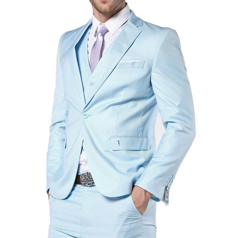 2020 Chegada Nova Mens ternos azuis Luz ternos de casamento para ternos Men Slim Fit for Men 3 peça (jaqueta + calça + Vest) Men Suit