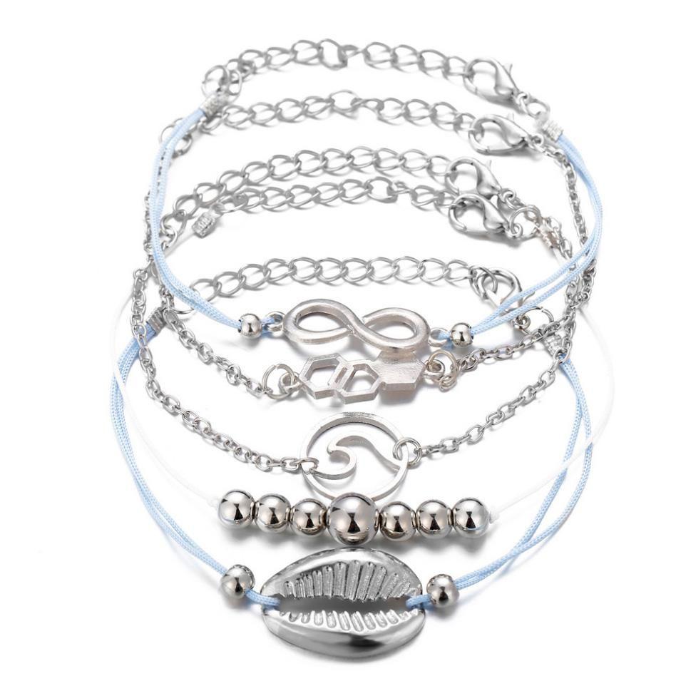 Braccialetti si 5pcs Lega Pacchetto fascino 8 Shell Sea Wave branello con catena metallica colore placcato d'argento della corda della stringa