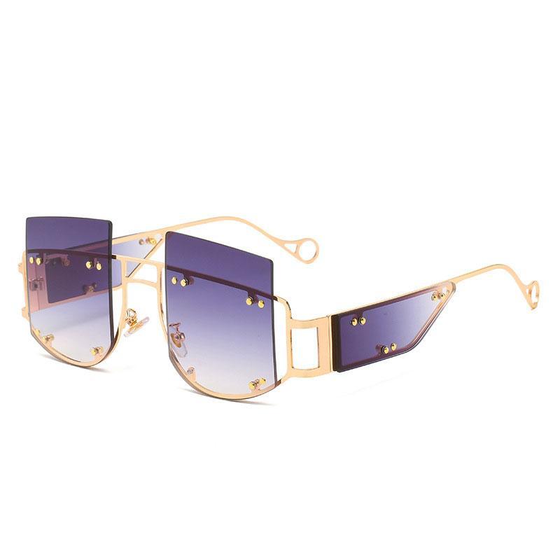 métal mode dames surdimensionné 2020 cerclées recourbée moitié des hommes des femmes grandes lunettes cadres nuances lunettes UV400