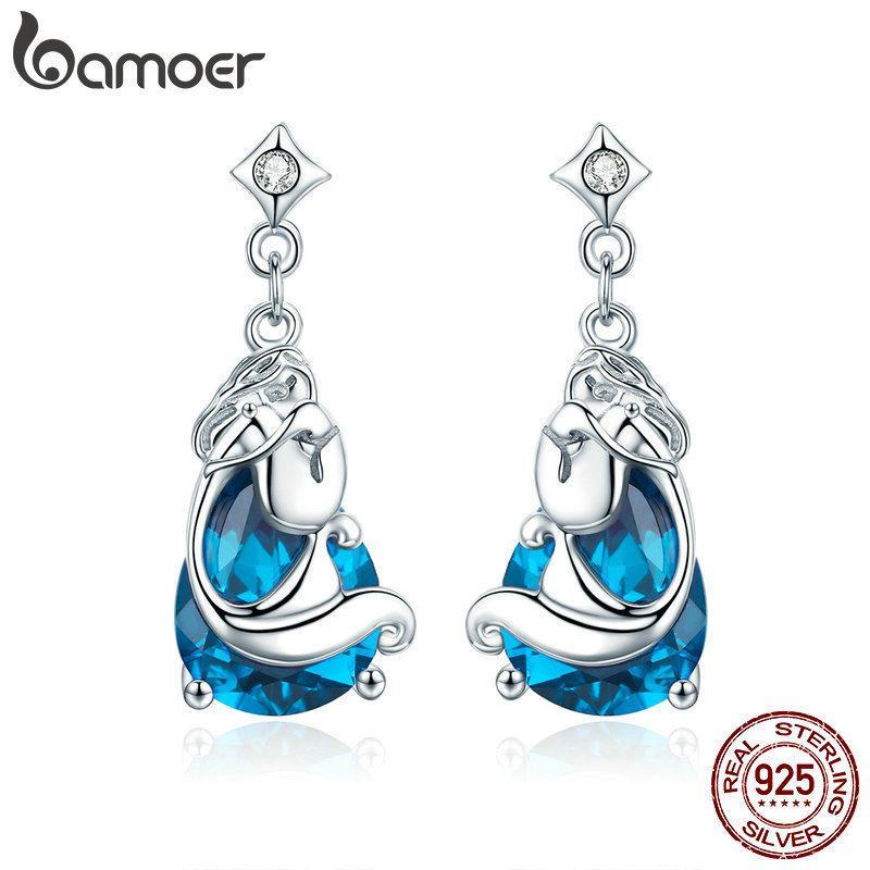 Bamoer Romantik 925 Ayar Gümüş Denizkızları Eksik Legend Mavi Kristal Damla Küpe Kadınlar Için Gümüş Takı Sce377 J190721