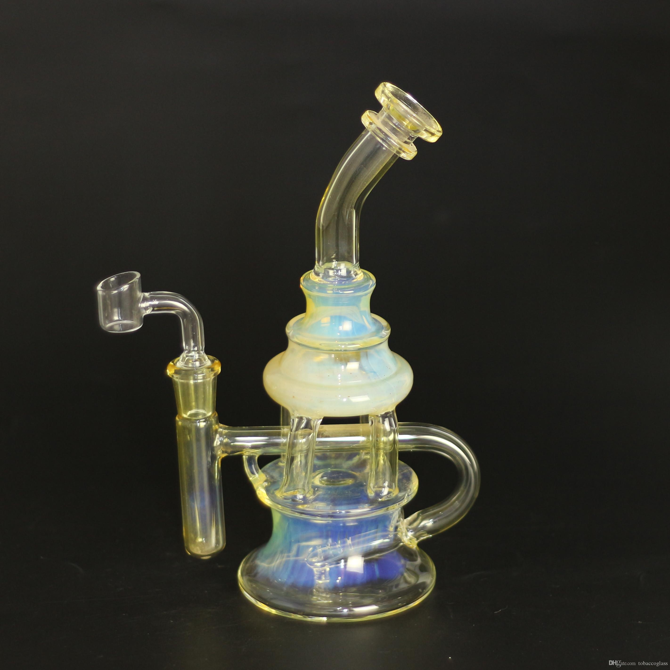 9inch argento Fumed colorate Dab Oil Rigs Heady Bong in vetro con 4 MM quarzo Banger Nail Recycler olio Bubbler Cyclone Perc vetro tubo di acqua