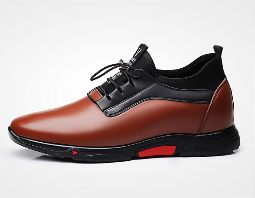 2020 моды кроссовки мужчин Платформа Лифт Обувь Коричневый Кожа эластичная полоса Повседневный Высота Увеличение 6 CM обуви