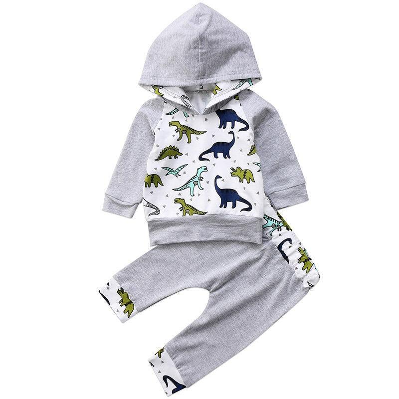 Newborn Baby Boy Kid con cappuccio Dinosaur Tops mutanda di shirt + Outfit tuta vestiti