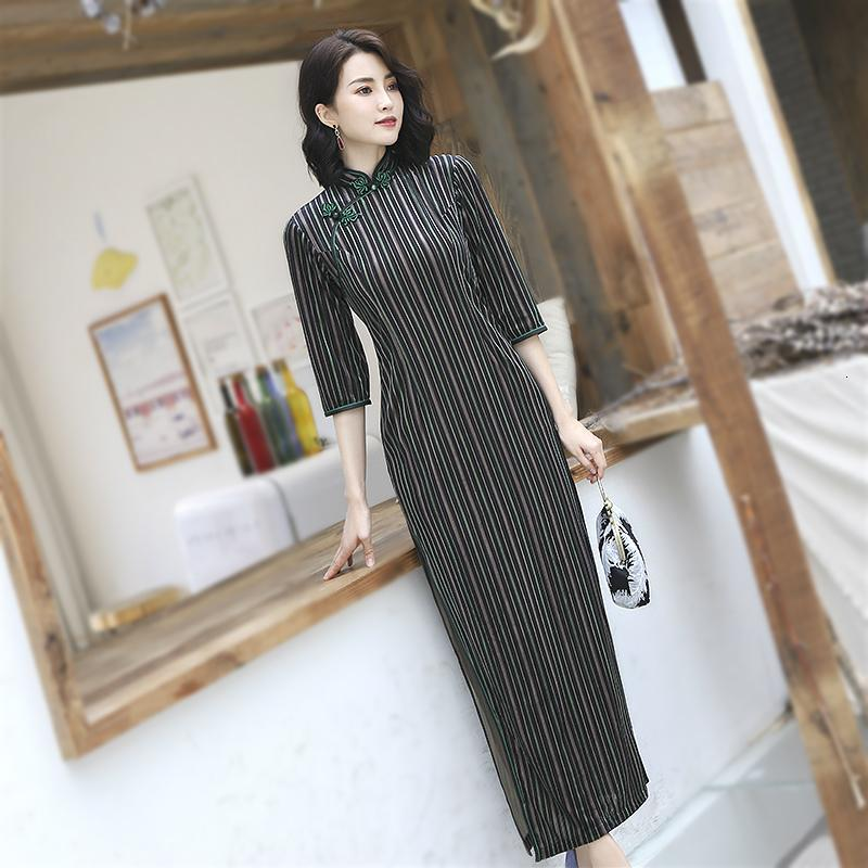 Black Green Stripe Chinese Dresses 4XL Long Sleeve Qipao Chinese Style Clothes Hit Stripe Long Qipao Oriental Dress Evening Gown