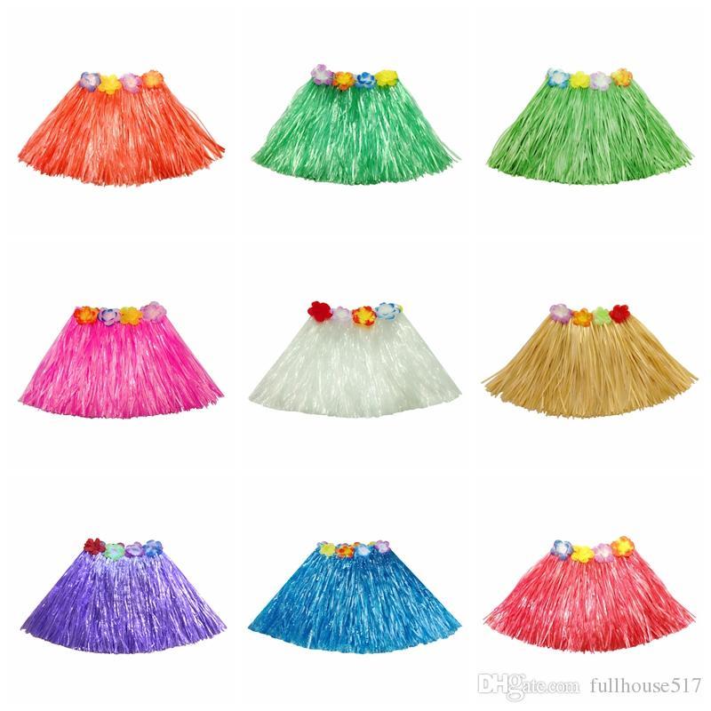30 cm elástico hawaiano hula bailarina falda de hierba Hawaiian Grass Faldas para niños Tropical Grass falda de una sola capa Festivo Suministros para fiestas
