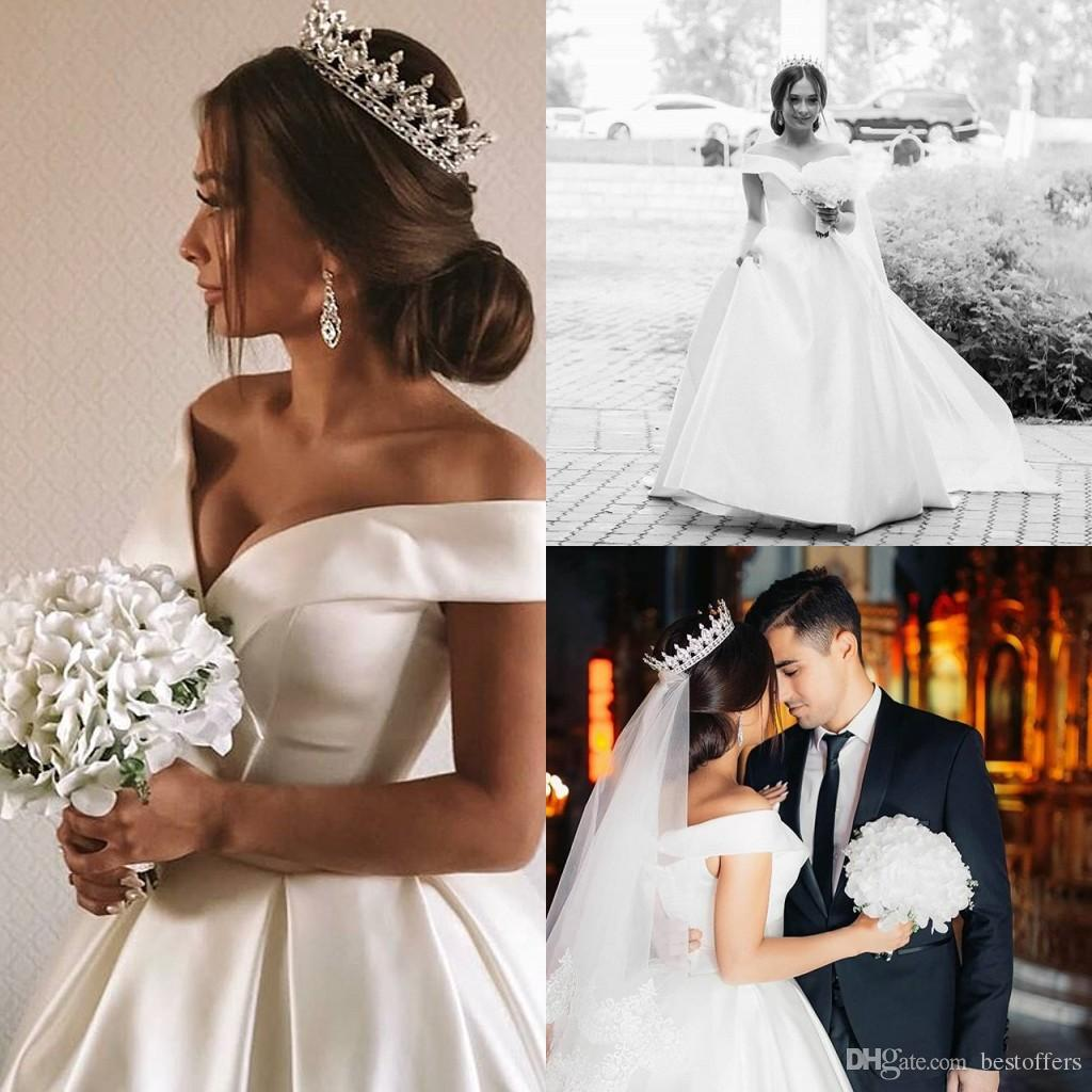 2020 White Ruched Off Shoulder A Line Wedding Dresses Satin Sweep Train Country Cheap Wedding Gowns Plus Size Bridal Dress