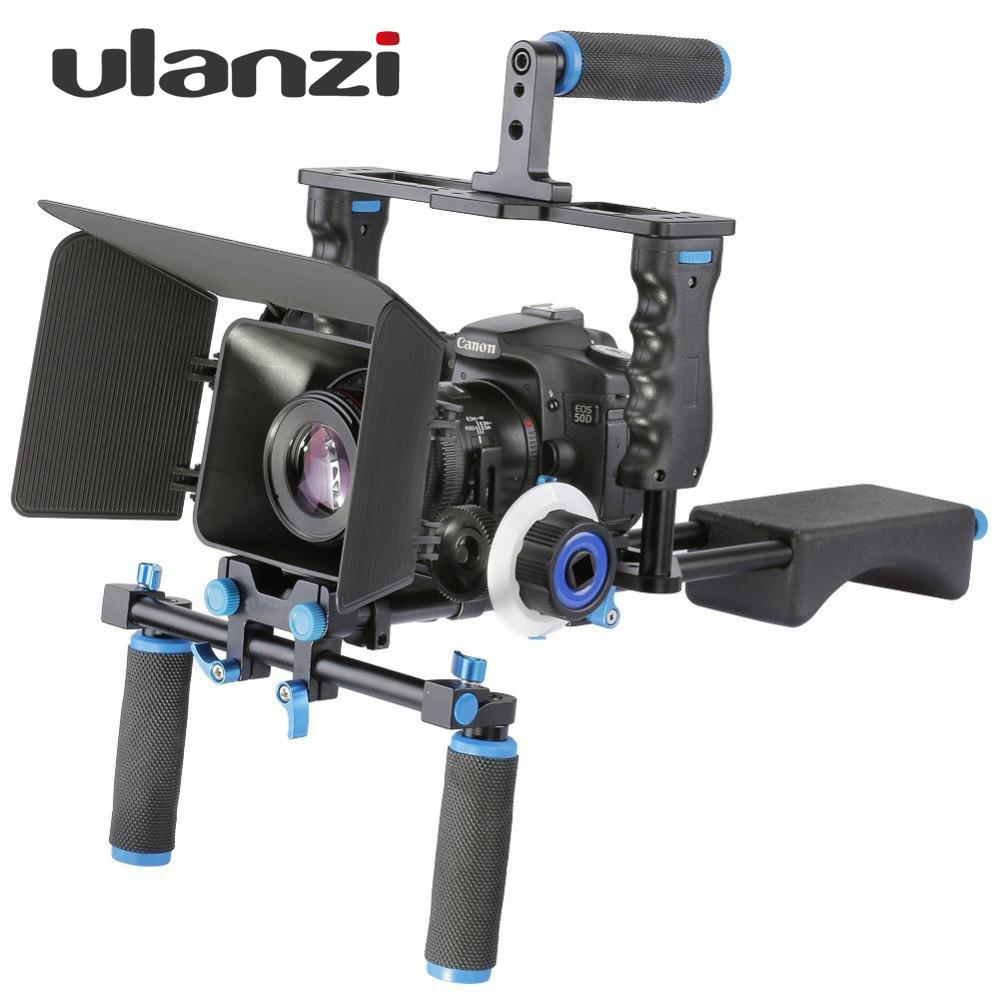 Freeshipping Ulanzi DSLR 4 in 1 Rig Kit 숄더 비디오 카메라 안정기 지원 케이지 / 매트 박스 / Canon Nikon Sony Camcorder