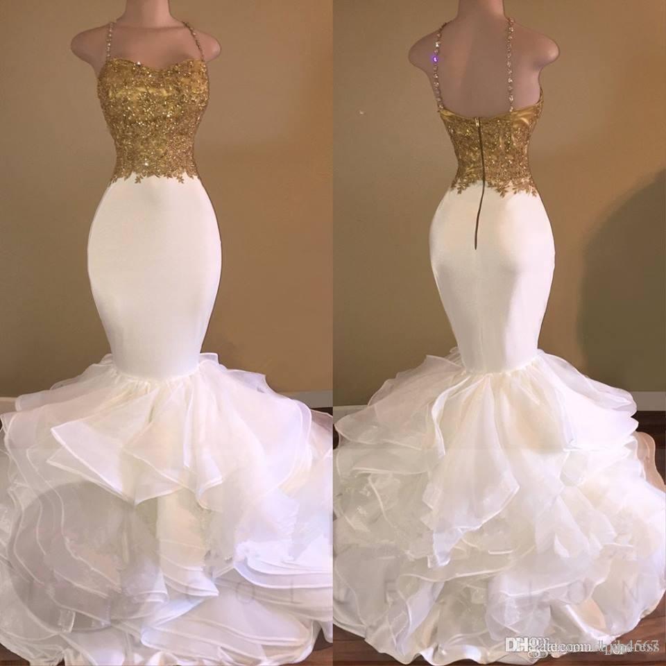 Mermaid sexy bianco e oro Prom Dresses Spaghetti Strap Appliques Pizzo Ruffles Organza Backless lungo africano Prom Dress per Gradustion A199