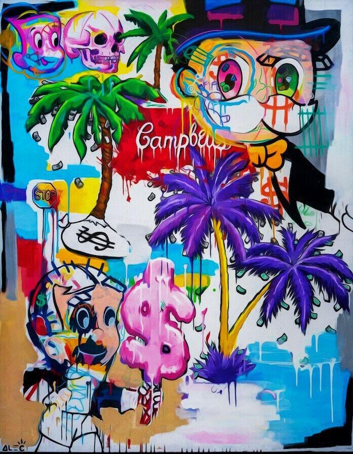Alec Tekel Graffiti sanatı Richie Rich 02 DUVAR Dekor Handpainted HD Yağ Tuval Wall Art Canvas Pictures 200807 On Boyama yazdır