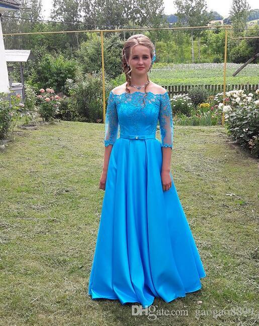 2019 Hot Sale blue Cheap Evening Dresses Long With Sleeves A Line lace up prom Dresses custom made plus size special occasion dresses