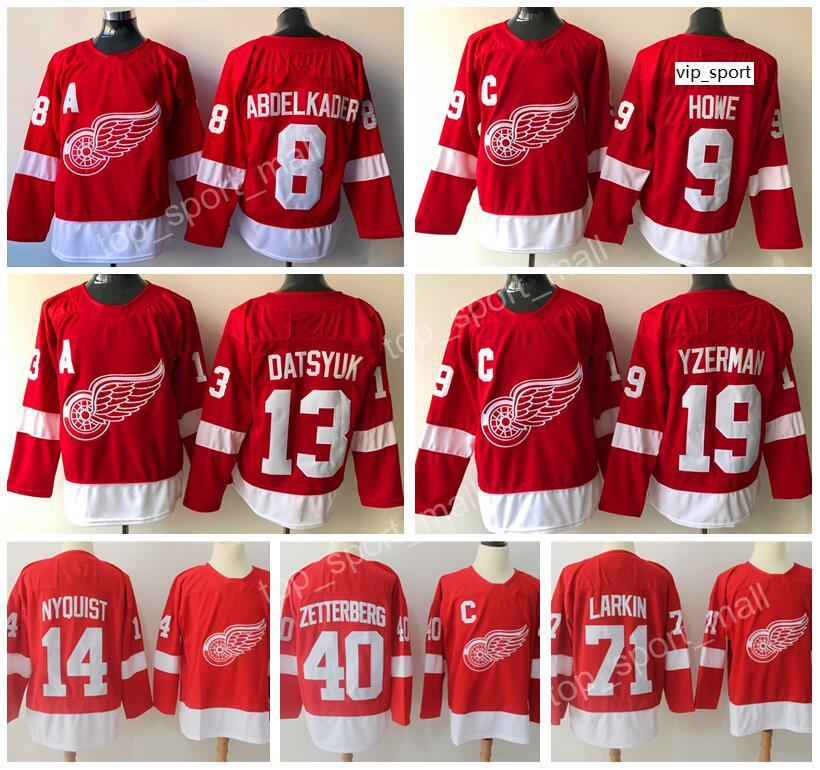 Nouvel homme Hockey Red Wings de Detroit Gordie Howe Pavel Datsyuk Chandails Steve Yzerman Henrik Zetterberg 71 broderie Dylan Larkin rouge
