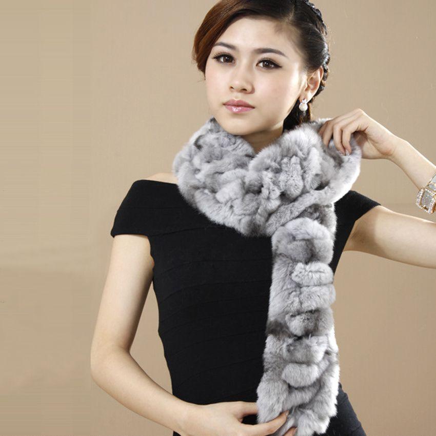 YCFUR klassische Art-Frauen-Winter-Schal Wraps handgemachtes realer Rex Kaninchen-Pelz-Ansatz-Schal-Damen Warm-Pelz-Winter Schals weiblich Y200103