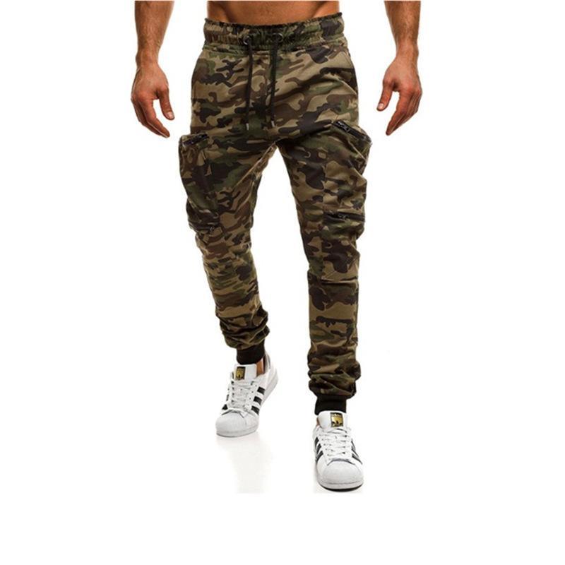calças QNPQYX multi bolso Men Zipper Outdoor Camuflagem Montanhismo Calças respirável mens leves lápis pant