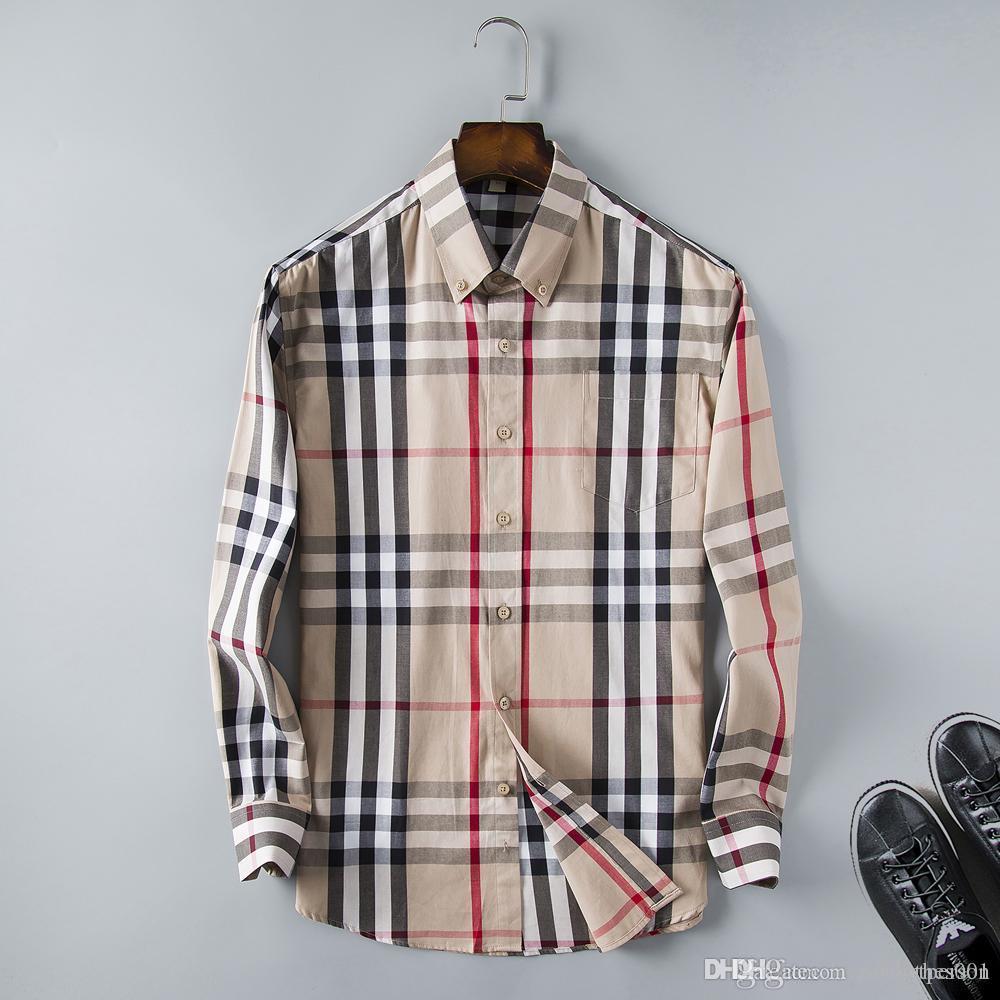 Brand Mens Designer Long Sleeve Shirts Firmate Dress Shirts Fashion Casual Luxury Shirt Plaid Shirt Homme Button Up Tops 0002