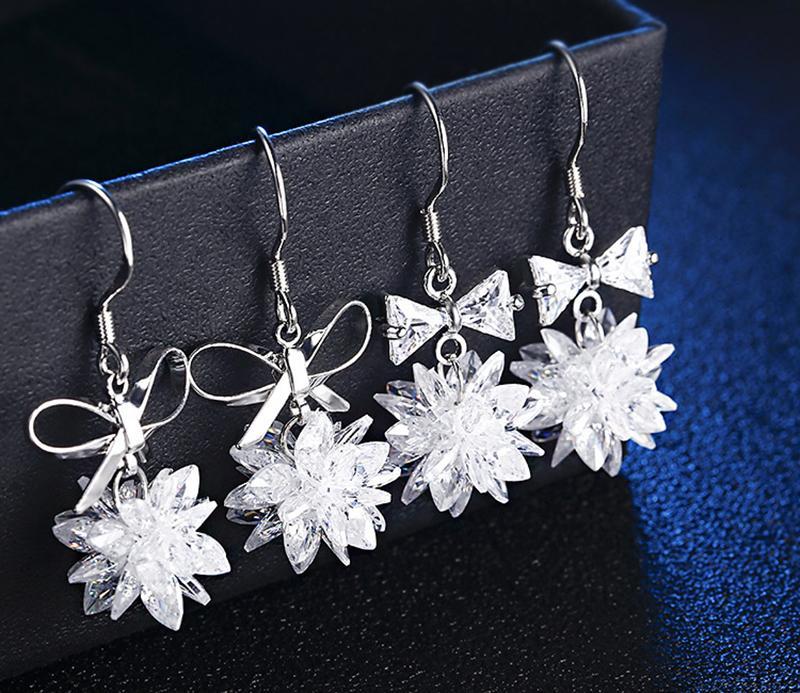 925 игл темперамент элегантный кристалл Zircon Серьги лук аксессуары для одежды Серьги женские длинные кисточки серебряные сплава цветок серьги