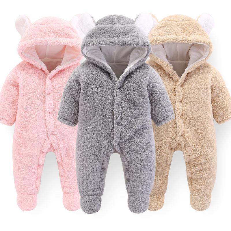 Bebê recém-nascido Meninos Macacão Roupas de Inverno Da Criança de Manga Longa de Flanela Com Capuz Macacão Para O Bebê Da Menina Infantil Macia e Quente Roupas Grossas Pijamas